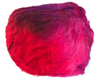 Hand Dyed Silk Fiber Mawata Silk Hankies for Felting, Spinning, Knitting. RED, PINK, and BURGUNDY