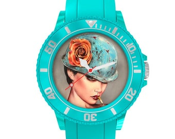 BV turquoise plastic watch