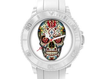 Shown in white plastic skull, Mexican skull, dia los muertos sugar skull, day of the dead, calavera, Mexico