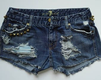 7 For All Mankind Distressed and Studded Denim Cut-Off Shorts