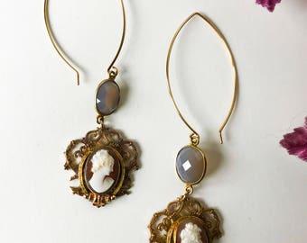 Vintage Cameo Earrings/ Cameo Earrings