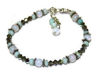 White Opalite Gemstone, Peruvian Opal and Gray Swarovski Austrian Crystal Beaded Bracelet Sterling Silver Star Spacers Gift for Her