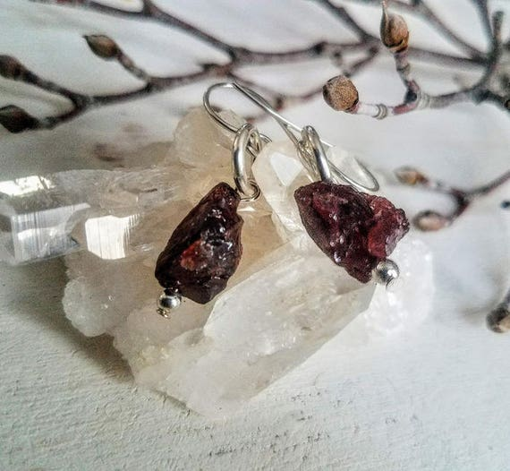 Raw Garnet Chunky Natural Stone Dangle Drop Earrings In Argentium Silver Wire