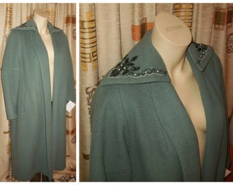 Vintage 1950s Coat Sage Green Wool Clutch Coat Elegant Beaded Jewel Collar Embroidered Satin Lining Rockabilly Audrey L chest to 40