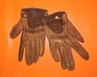 Vintage Driving Gloves 1960s Brown Leather Driving Gloves Two Tone Unisex Fine Soft Leather Rockabilly Mod Women's Size 6 1/2