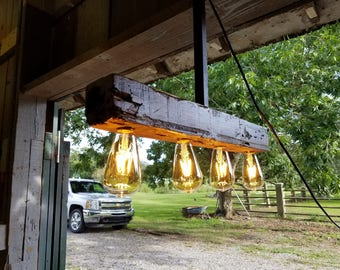 Reclaimed barn cypress chandelier