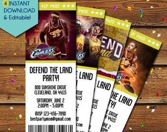 Cleveland Cavaliers Invitation, Cleveland Cavaliers Party, Cleveland Cavs Invitation, NBA Basketball, Defend the Land, NBA Playoff, Birthday