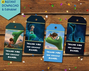 The Good Dinosaur Thank You Tags, Good Dinosaur Party Favors, Good Dinosaur Favor Tags, Good Dinosaur Birthday Tag, Good Dinosaur Party Tag