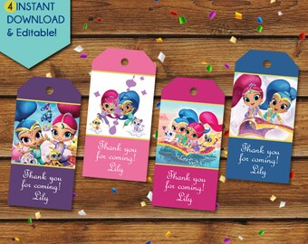 Shimmer and Shine Thank You Tags, Shimmer and Shine Party Favors, Shimmer and Shine Favor Tags, Birthday Tags, Party Tags, Gift Tags