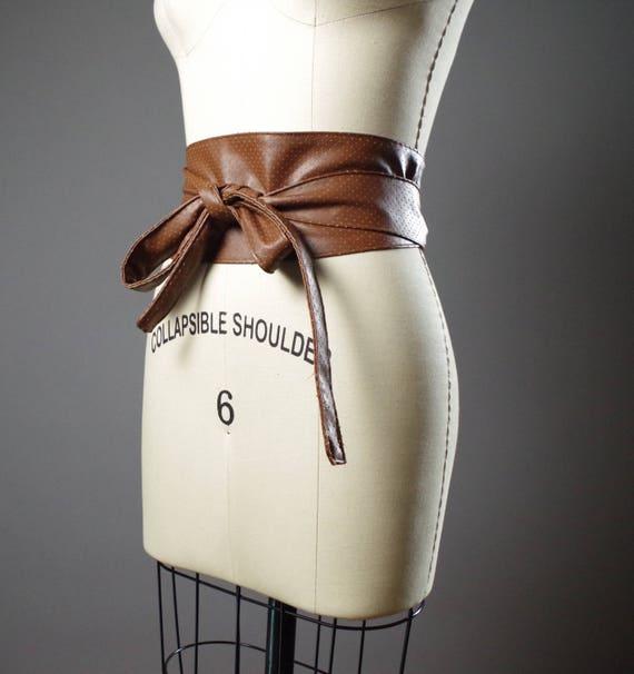 Vegan Leather Obi Belt - Rustic Brown Vegan Leather Obi Belt - Women's Wrap Belt - Rustic Obi Belt - Boho Brown Belt