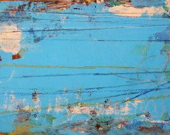 Earthy Artwork called 'Light Blue Skies Ahead' using Upcycled Wood SKIES AHEAD