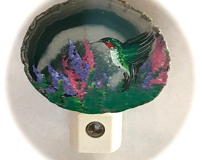 Agate Night Lights  Sensor w 7 watt bulb Hand Painted Oils Hummingbird Night Light