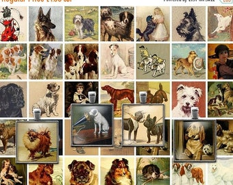 ON SALE 30% OFF Digital Clip Art Vintage Victorian Dogs Collage Sheet - 1x1 Inch squares -  Inchies -  Jpeg - Instant Download - Downloadabl