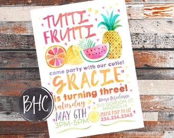 Tutti Frutti Birthday Party. Tutti Frutti Invitation. Tutti Frutti Invite. Two-tti frutti invitation. Tutti Frutti Party. Two-tti frutti.