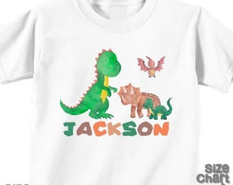 SALE Personalized Dinosaur Baby Bodysuit T-shirt Shirt Infant Boy Girl Kids Children Dinosaur Birthday T-Rex Stegosaurus Brontosaurus Tricer