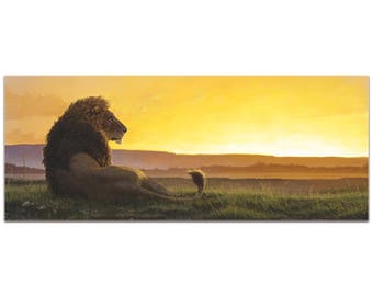 Expressionist Wall Art 'Lion in the Sun' by Ben Judd - Wildlife Decor Contemporary Lion Artwork on Metal or Plexiglass