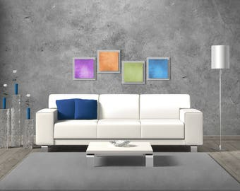 Colorful Modern Metal Wall Art 'Seasonal Essence' 50x12in. - Rainbow Art Contemporary Décor - Modern Metal Painting - Abstract Accent Pieces