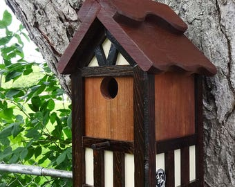 Painted Bird house/Nesting Box, American Tudor style 1, thatch roof design, EZ cleanout, western red cedar, Made in USA, fully functional