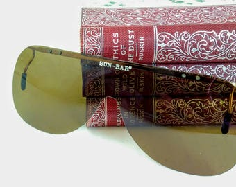 Vintage Clip on Sunglasses, Slip on Brown Sunglasses, Goggle Clipons, Polarized Clipon, Square Clip Ons, 1980's New Old Stock Sunglasses