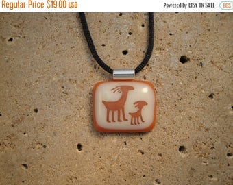 Christmas in July Sale Petroglyph Pendant - Fused Glass - BHS01445
