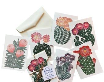Set of 6 Cactus Notecards w/ Envelopes