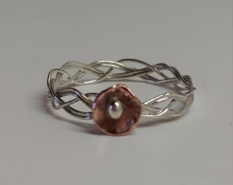 Flower rings, size 9 rings, silver and copper mixed metal rings