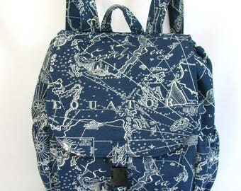 Large backpack- Navy blue and white South Seas solarium canvas