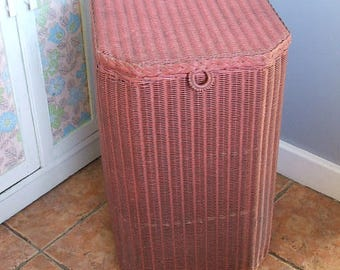 Vintage Dusty Pink Lloyd Loom Linen Basket