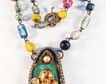 Angel Necklace, Hand Designed, Vintage Jewelry, Vintage Assemblage, Bold Necklace, OOAK (See Note In Description)