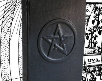Pentacle - Pentagram Black Blank Leather Journal or Sketchbook