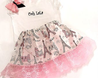 Little Miss Paris Twirl Skirt Set, Tutu Petticoat, Effiel Tower, Parisian Outfit, Twirl Skirt Set