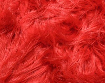 Fun Gorilla Solid Long Pile Faux Fur 58 Inch Fire Red Fabric by the Yard, 1 yard