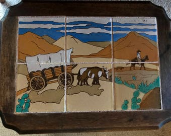 Taylor Tile Table California vintage Wagon Train c 1930's antique mission oak side table Bauer Catalina San Jose arts and crafts