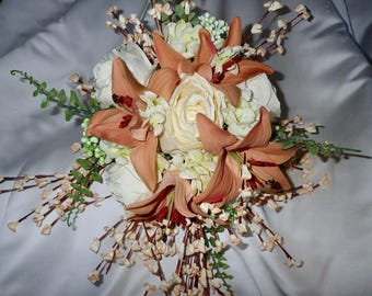 Bride Round Wedding Bouquet and Bout Ivory and Mauve Coral 2 Piece Rose and Hydrangea