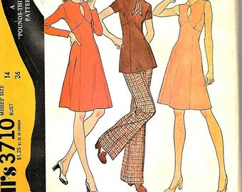 ON SALE McCall's 3710 Misses Front Cut-Out Dress Or Tunic And Pants Pattern, Pounds Thinner, Size 14, Bust 36, UNCUT