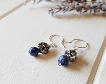 Simple Blue Gemstone Earrings - Silver & Sodalite, Ready to Ship