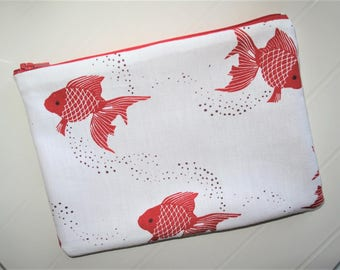 Pouch Makeup organizer or cosmetic case with red zipper and red fish