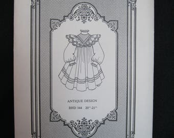 "Antique Design Doll Dress Pattern, for 20 - 21"" height dolls, Brown House Dolls BHD 344 from Easy Sew Designs, complete and uncut, Victorian"