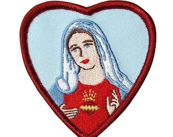 Virgin Mary Mother of Jesus Heart Frame Iron-On Patch Christian Faith Applique