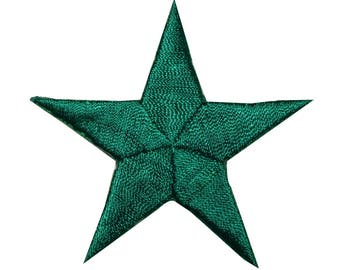 ID 3444 Green Star Patch Symbol Space Night Sky Embroidered Iron On Applique