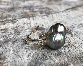 Tahitian Pearl Drop Earrings - 14k Yellow Gold Filled - Genuine Baroque Tahitian Pearls - Silver/Beige/Bronze Saltwater Pearls