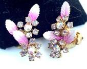Vintage Enamel Pink Leaf Aurora Borealis Clip Earrings