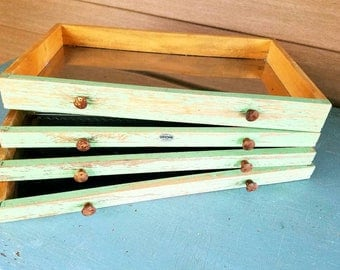 Gerstner and Sons, Salvage Chippy Green Tool Box Drawers for Re purposing,