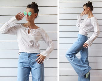 BENETTON Vintage white cotton balloon flute sleeve off shoulder country chic style gypsy shirt blouse top XS