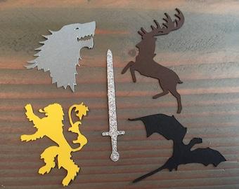 75 Game of Thrones confetti, die cuts, Dragon, Sword, Lannister, Baratheon, Stark wolf, sigils, party decor, party decor, birthday party