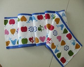 Vintage Swedish printed table runner - Hearts Apples Birds - Putti Nathorst Westerdahl design