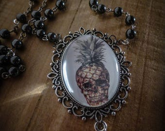 Rosary silver Rosary cameo steampunk summer ♰Skully Pineapple♰