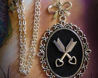 Necklace cabochon silver felt Boho Chic steampunk U Broke My Heart ♥ ♥
