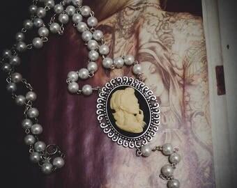 """Chaplet Rosary beads ivory cameo woman Mexican Sugar Skulls calavera Bohemian gypsy """"Dia de los Muertos"""""""