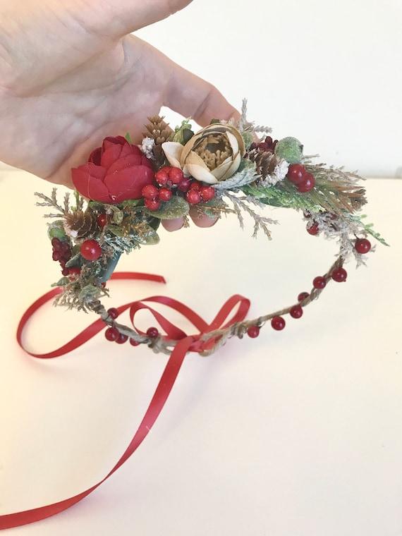 Christmas  flower crown- red Flower crown- bride floral crown- Flower Girl Flower Crown- Floral Crown- Well dressed wolf- Dollcake
